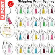 90Pcs Clear Acrylic Circle Discs Keychain Blanks Tassel Pendant Key Ring DIY Set