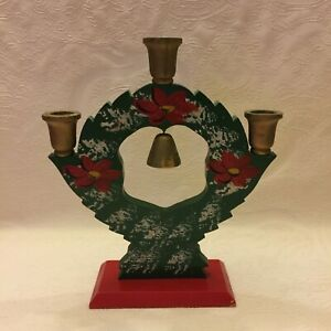 Antique Swedish Wooden Painted Candle Holder Bell Handicraft