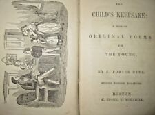 Child's Keepsake Poems for the Young (1852) antique children's book Angel Cover