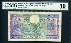 Belgium 1943(1944), 500 Francs-100 Belgas, P124, PMG 30 VF