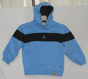 NIKE JORDAN Kids Boys Blue Geometric Trim Cotton Blend Pullover Hoodie Size 7