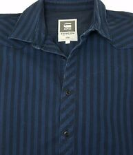 G-Star Raw Men's Denim Construct Clean Long Sleeve Shirt Sz Large Striped