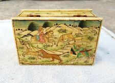 VINTAGE HANDMADE & PAINTED BONE FITTED JEWELLERY BOX-BEAUTIFUL HUNTING PAINTING