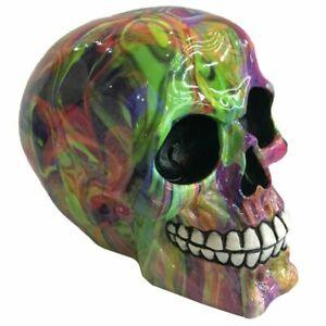 Rainbow Marble Effect Skull Ornament