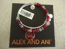 Alex and Ani BELIEVE WINE SET OF 2 COLOR INFUSION Silver Bangles Tag Card & Box