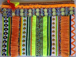 Tablet Cover / Clutch Purse Vibrant Tribal Boho Styling Beaded Fringed Lined New