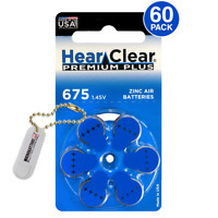 HearClear Hearing Aid Batteries Size 675 + Free Battery Buddy (60 Batteries)