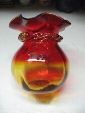 VINTAGE   BLOWN  ART  GLASS  AMBERINA  BOWL  RUFFLED  RIM  OPEN PONTIL LOVELY