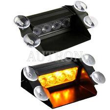 4 LED 4W Strobe Warning Truck Emergency Flashing Mini Windshield Light Amber 12V