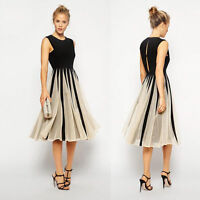 Womens Elegant Chiffon Lace Pleated Cocktail Party Sleeveless Midi Evening Dress
