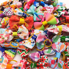 More details for assorted pet hair bows rubber band dogs puppy headdress grooming accessories