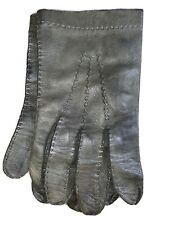 GRAY LEATHER UNLINED GLOVES Mens L