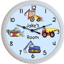 Trucks Custom Child's Personalized Wall Clock Nursery Dump Truck Steam Shovel