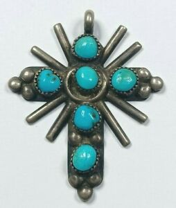 Native American Style Sterling Silver Cross Pendant W/ Turquoise Stones