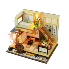 Country Wooden Dollhouse DIY Miniature Furniture Kit Led Light Children Toy Gift