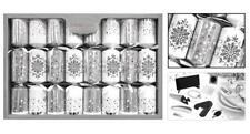 8 Premium Christmas Crackers - Silver/Snowflake