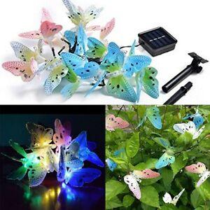 12LED Solar Butterfly String Fairy Lights Battery Home Garden Path Yard Decor