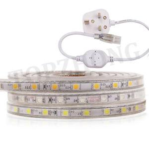 LED Strip 220V 240V 5050 SMD 60LED/M Waterproof Tape Lights Rope With Plug