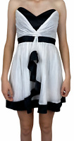 Cooper St Womens White with Black Trim Strapless Fit Flare Lined Dress Size 10