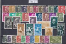 ESPAÑA - AÑO 1955 COMPLETO - SELLOS NUEVOS SIN FIJASELLOS - GOMA ORIGINAL - LUJO