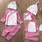 Flower Newborn Infant Baby Girl Tops T shirt Pants Bodysuit Outfits Set+Hat 0-2Y