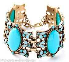 TURQUOISE BLUE GREEN Chunky Enamel Crystal Rhinestone & Gold Statement Bracelet