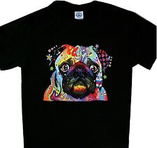 Pug Neon Multicolor Black Tee Dog T'shirt New