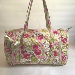 "VERA BRADLEY Pink/Ivory/Green/Yellow Print Large 21"" Weekender Duffle Bag"