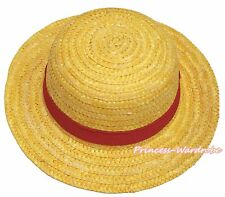 One Piece Yellow Red Ribbon Luffy Straw Hat Kids Cosplay Costume Accessory
