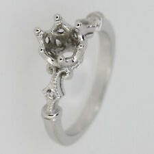 Sterling Silver Semi Mount Ring Setting Round RD 6x6mm with White Topaz Size 7