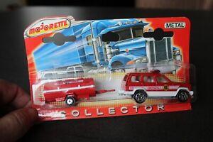 MAJORETTE série 300 Collector : Jeep cherokee emergency + remorque fire
