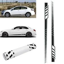 2pcs Car Body Stripe Stickers Decals Side Skirt Decoration Decals Racing Black