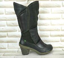 EL NATURALISTA Dome Womens Black Leather Mid-Calf Heeled Boots Size 6 UK 39 EU
