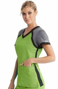 """Grey's Anatomy #41435 V-Neck Color Block Scrub Top in """"SPMB"""" Size XL"""