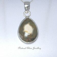 Pendant 925 Sterling Silver Natural Rhyolite Cab Teardrop Gemstone 28mm x 14mm