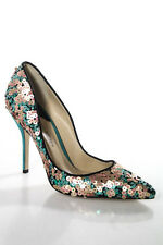 Paul Andrew Multi-Color Leather Sequin NEW Slip On High Stiletto Heel Pumps 10