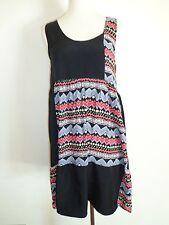 Urban Outfitters one & Only black dress yellow flowers gray red zig zag design