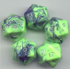 RPG Dice Set of 5 D20 - Toxic Green-Blue