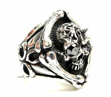 Men's Silver  Skull  Ring With Black Diamonds 1.20 ct