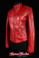 RUSH Ladies Leather Jacket Red Wax Slim Fit Real Lamb Leather Biker Girl Jacket