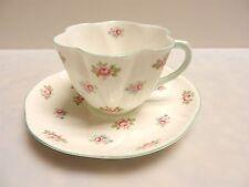 Shelley Rosebud Spray Greent Trim England Fine Bone China Tea Cup And Saucer