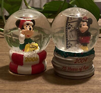 Disney Mickey Mouse Mini Small Christmas Snow Globes JC Penney Lot Set of 2