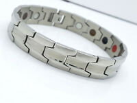 MEN'S LARGE  SINGLE ROW BIO MAGNETIC BRACELET STAINLESS STEEL 5 IN 1  SILVER