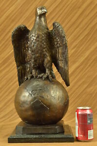 Life Size Real Mogniez Sitting on World American Bald Eagle Bronze Sculpture