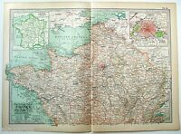 Original 1902 Map of The Northern Part of France by The Century Company. Antique