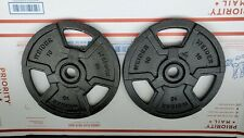 """2-Weider 10lb Standard Barbell Or Dumbells Weight 1"""" hole Plates 20lbs Total"""