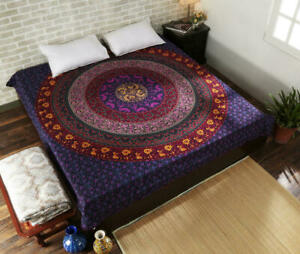 Mandala Queen Size Bedspread Multi Color Print Tapestry Wall Hanging-Decor