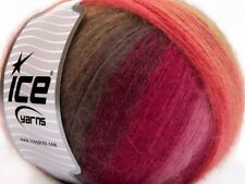 Lot of 4 x 100gr Skeins ICE ANGORA DESIGN Yarn Pink Shades Brown Shades Red