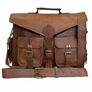 New 15'' Men's Cross Body Medium Handmade Leather Brown Messenger Vintage Bags