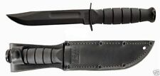 Ka-bar Kabar Plain Blade Knife Black 13cm Blade KA1256+Leather Sheath 1256 New